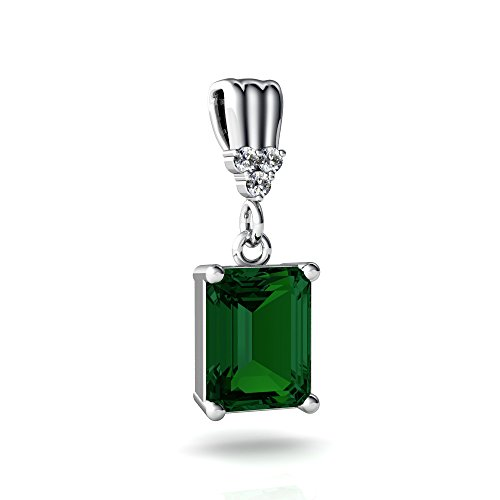 14kt White Gold Lab Emerald and Diamond 9x7mm Emerald_Cut Art Deco Dangle Pendant (Gold Emerald 14kt 9x7)