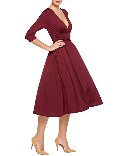 ANGVNS Women V-Neck 3/4 Sleeve Ruched Waist Solid Casual Pleated Midi Dress
