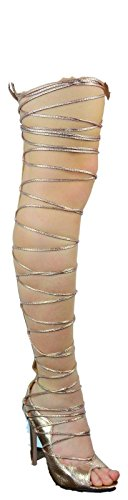 C&C Denise-1 Thigh High Strappy Tie Up Open Toe Gladiator Sandal Boot Shoe Rose Gold Rose Gold 71bLZ4vP