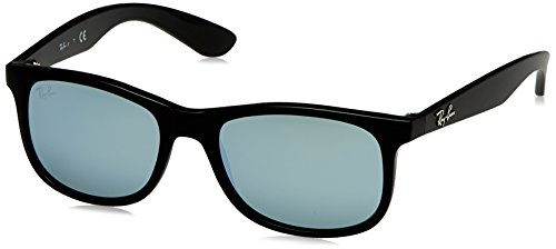 Ray-Ban Junior RJ9062S Rectangular Kids Sunglasses, Matte Black On Black/Silver Mirror, 48 ()