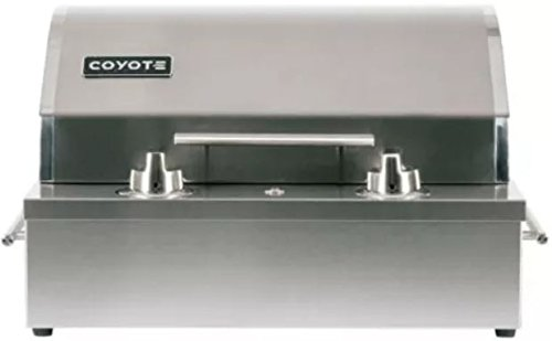 (Coyote 18 Inch Built-in Electric Grill Single Burner Manual Control, Ceramic Flavorizer, Teflon Coated Cooking Surface- C1EL120SM)