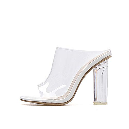 - KonYor 2019 PVC Transparent Crystal Heel Women Slippers Peep Toe Female Slippers Sandals Shoes Size 35-40,White,6
