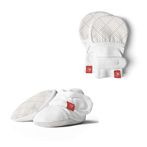 (Baby Booties & Mittens Bundle, Adjustable Soft & Secure (Diamond Dots/Cream, 0-3 Months))