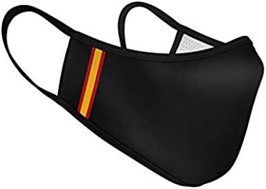 Mascarilla de Tela Homologada Reutilizable Bandera de España Vertical - Negra