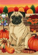 Pug Brown by Tomoyo Pitcher, Autumn Themed Dog Breed Flags 28 x 40