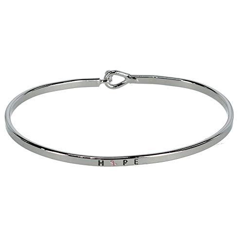 Fresh & co. Hope Pink Ribbon Bracelet, Silver -