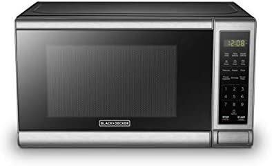 BLACK+DECKER EM720CB7 Digital Microwave Oven with Turntable Push-Button Door,Child Safety Lock,700W, Stainless Steel, 0.7 Cu.ft