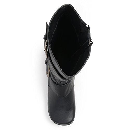 Journee Collection Damen Extra breite Kalb Slouch Schnalle kniehohe Stiefel Schwarzes Patent