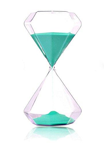 Diamond Hourglass (FLY SPRAY Hourglass Blue Diamond Shape Sandglass Sand Clock Timer 5mins for Kids School Kitchen Games Office Home Decor (15 minutes, Light Green))