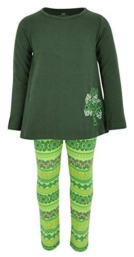 Unique Baby Girls Lucky Clover Embroidery 2 Piece St Patricks Day Outfit Green