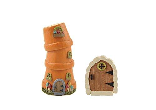 - Blossom Bucket Bundle of 2 Assorted Mini Fairy Garden Accessories - Stacked Planter House & Door Garden Stake