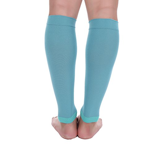 Premium Calf Compression Sleeve 1 Pair 20-30mmHg Strong Calf Support Fashionable COLORS Graduated Pressure for Sports Running Muscle Recovery Shin Splints Varicose Veins Doc Miller (Teal, 3X-Large)