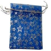 25 bolsas de organza de la más alta calidad, 10 x 12 cm, bolsas de regalo para boda, fiesta, vendedor del Reino Unido Royal Blue with Silver stars
