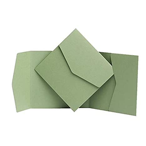 150 x 150 mm Salbeigr/ün Pocketfold Invites Ltd Einladungskarten