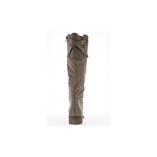 Bottes femme grande taille doublées taupe à talon de 4cm