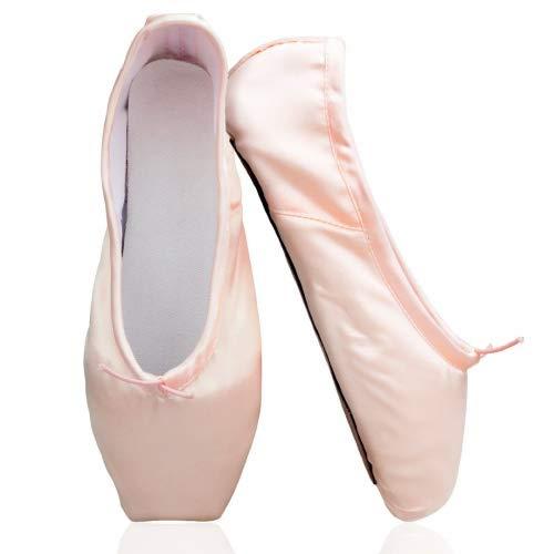 KUKOME nuevos zapatos de dedo del pie de la danza del ballet de color rosa Profesional zapatos de satén Pointe mujer(US9,...