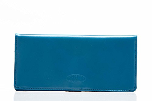 Big Skinny Women's Executive Leather Bi-Fold Checkbook Slim Wallet, Holds Up to 40 Cards, Ocean Blue