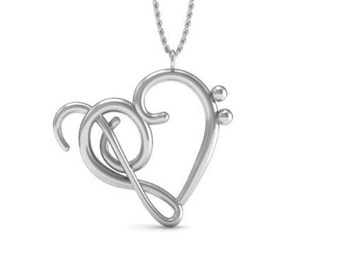 The Best Music Note Pendant Necklace, 925 Sterling Silver 18 Inch Necklace with Heart of Treble & Bass Clefs Pendent