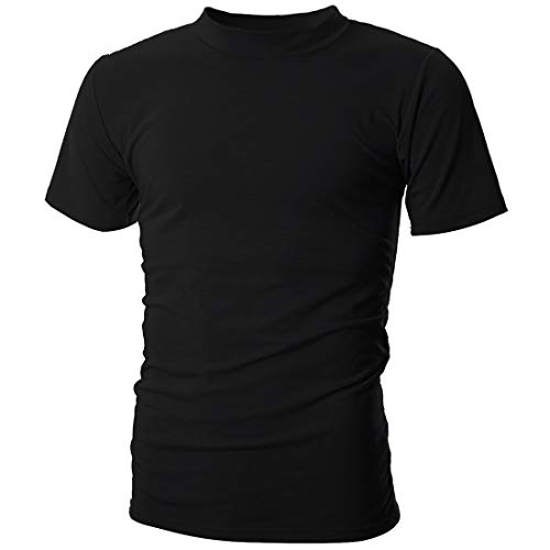 UUANG Men's Big & Tall Short Sleeve Moisture Wicking Athletic T-Shirts (Black,XL) (Short Sleeve Mock Turtleneck Shirts)