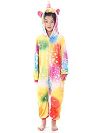 2206f9ed0d Unisex Kids Unicorn Flannel Onesie Animal Pajamas Cosplay Costume for  Halloween and Xmas Gift for Girls