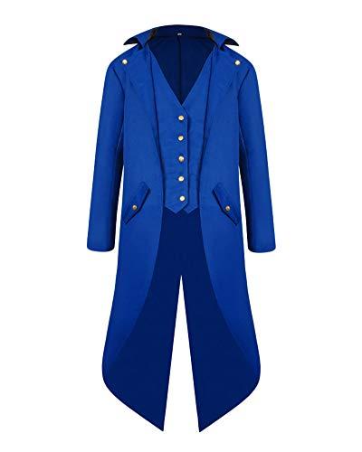 Boutonné Cosplay Tailcoat Steampunk Bleu Halloween Veste Longue Gothique Manteau Homme Costume Penggenga 0wgqzIT