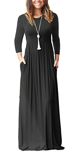 GRECERELLE Women's Long Sleeve and 3/4 Sleeve Loose Plain Maxi Dresses Casual Long Dresses With Pockets