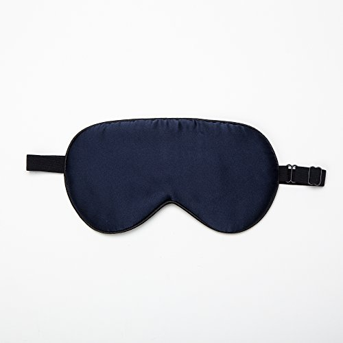 Mask Back Face Navy - SLPBABY Natural Mulberry Silk Sleep Mask for Sleeping with Adjustable Strap, Light-blocking, Hypoallergenic, Anti-Aging (Navy Blue)