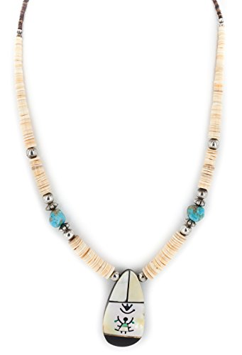 $350Tag Certified Silver Navajo Inlay Graduated MOP Turquoise Necklace 15777-341 Made by Loma Siiva