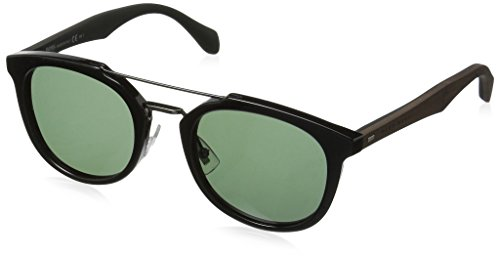 BOSS by Hugo Boss Men's B0777s Square Sunglasses, Black Dark Brown/Gray Green, 51 (Hugo Framed)