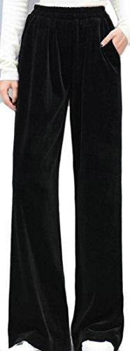 Jaycargogo Womens Casual Velvet Low Waist Baggy Fit Bootcut Pant Outwear Black L - Velvet Bootcut Pant