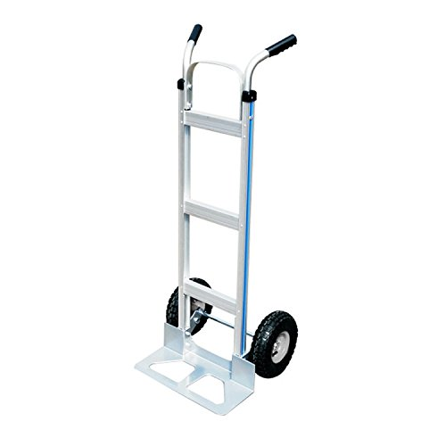 HiHydro Aluminum Heavy Duty Portable Folding Hand Trucks Cart with 2 Pneumatic Tires, Double Pistol Grip Handle 500lbs Capacity by HiHydro