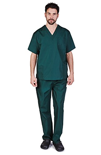 M&M SCRUBS Men's Scrub Set Medical Scrub Top and Pants XS Hunter Green