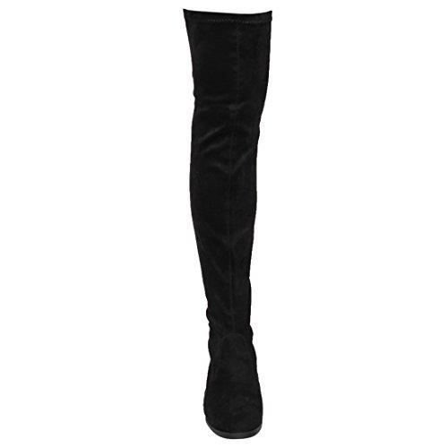 Beston FM32 Damen Stretchy Snug Fit Over Kniehohe Pull On Block Low Heel Boot Schwarz