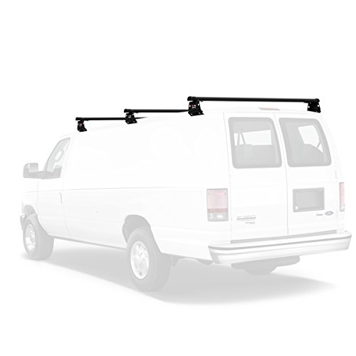 Vantech Aluminum H3 Rack 3 Bar System for a Ford Econoline 1992-On Black