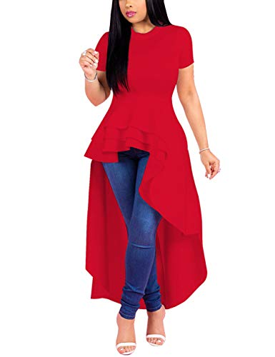 (Lrady Women Ruffle High Low Asymmetrical Short Sleeve Peplum Tops Blouse Shirt Dress Red 2XL)