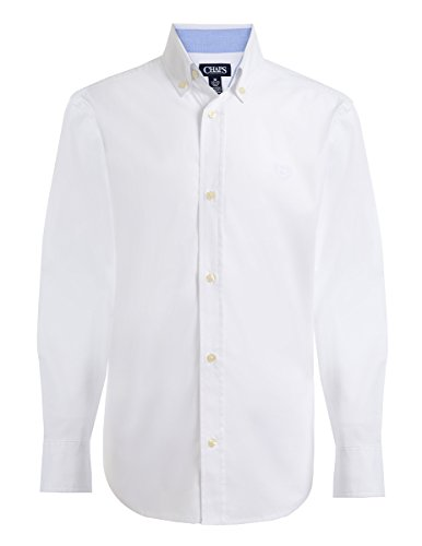 Chaps Boys' Big Long Sleeve Woven Shirt with Stretch, White, XL