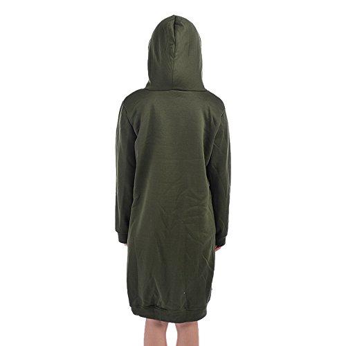 Manche Vert Wenyujh longue Sweat Casual Hoodie Manteau Zipp Veste Longue Mi Femme arme Capuche Fashion Cardigan WaRWp1S
