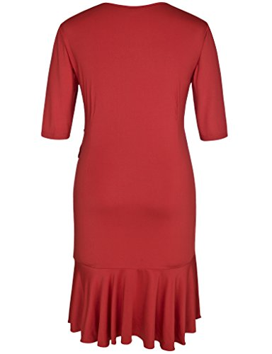 Rose Wrap Whimsy Size Cocktail Chicwe Red Dress Plus Knee Party Length Women's Dress Casual Solid IxOqtZTw