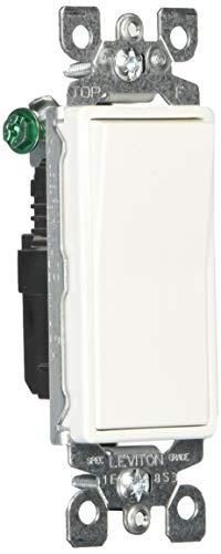 (Leviton 5601-2W 15 Amp, 120/277V Decora Rocker Single-Pole AC Quiet Switch, Residential Grade, Grounding (10-Pack), White, Piece)