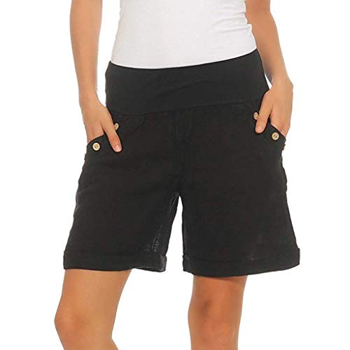 wodceeke Women Cotton Linen Summer Short Pants Elastic Waist Pocket Casual Shorts Lounge Walking Shorts(XL,Black)