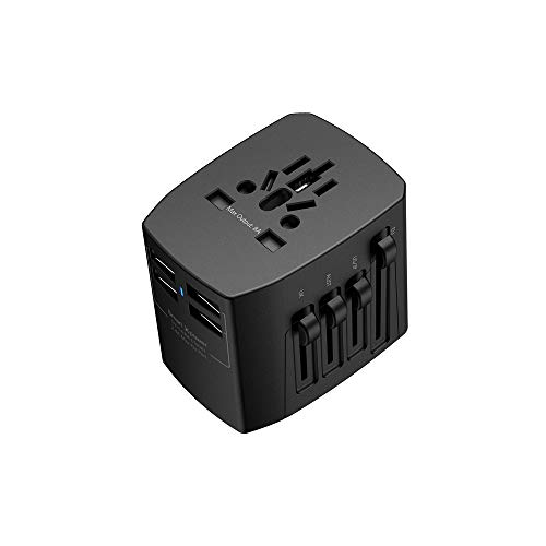 (Upgraded Version) XCENTZ Universal Travel Adapter, 1800W All in One Power Adapter with 4 USB Ports, International Worldwide Us EU UK AUS Plug Adapter Wall Charger for Smartphones, Tablet, Laptop