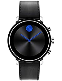 Connect 2.0 Unisex Powered with Wear OS by Google Stainless Steel and Black Leather Smartwatch, Color: Black (Model: 3660028)