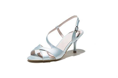 Amoonyfashion Kvinna Öppen Tå Spänne Pu Fasta Spikar Stiletter Sandaler Ljusblå