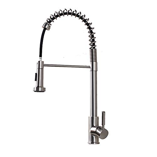 Lordear SLC16089 Best Modern Commercial Brushed Nickel Pull Out Sprayer Single Handle Kitchen faucet, Pull Down Kitchen Sink Faucets