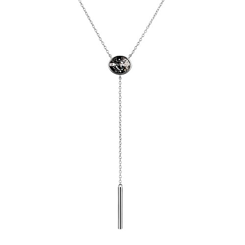 (AOBOCO Sterling Silver Choker Chain Y Necklace with Swarovski Crystal Lariat Necklace for Women (Silver))