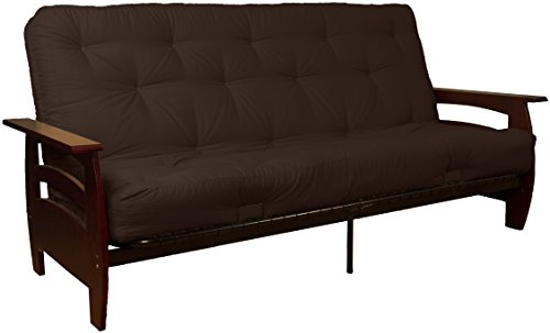 Rumba 8-Inch Loft Inner Spring Futon Sofa Sleeper Bed, Queen-size, Mahogany Arm Finish, Twill Brown Upholstery