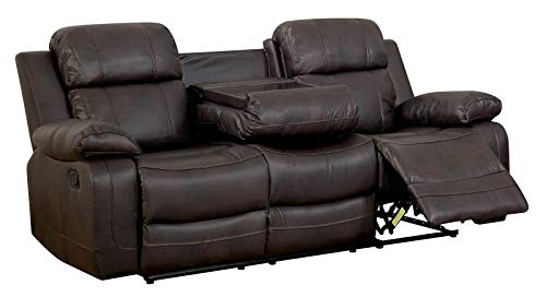 Benzara BM177920 Double Recliner Sofa with Console and Cup H