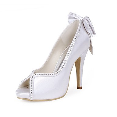 Wuyulunbi@ Damen Schuhe Seide Frühling Sommer Basic Pumpe Hochzeit Schuhe Stiletto Heel Peep Toe Strass Bowknot für Hochzeit Party & Abend