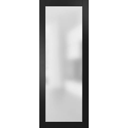 Slab Barn Door Panel Frosted Glass Lite 36 x 96 inches | Planum 2102 Black Matte | Sturdy Finished Modern 8ft Doors…