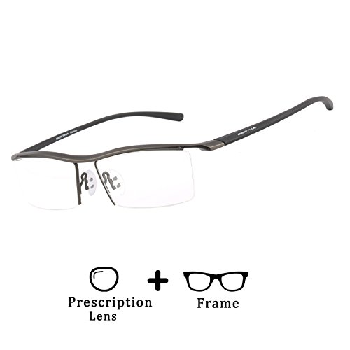 Bertha Men Z Pure Titanium Semi-rimless Eyeglasses Business Prescription Optical Frame 8189 (Frame+1.67 - Prescription Glasses Replacement Lenses For